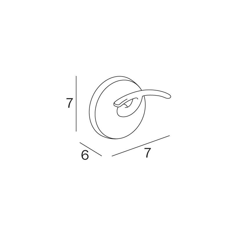 INDA A23210CR Colorella Appendiabiti 6 x 7 x 7 cm Cromato Ottone